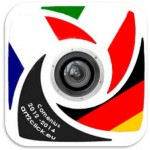 Our logo has a camera objective in the middle. Around the camera are the flags of Italy, France and Germany. The fourth symbol has the colors black and white and the lettering of the project.