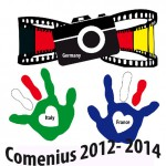 Our logo shows a film strip in the German flag's colors and two hands in the Italian and French flag's colors. There's also a camera in front of the film strip which holds the word Germany. In the heart shapes in the hands there are the words Italy and France. Underneath all this is the project's name, Comenius together with the period of time, 2012-2014.