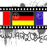 The Logo consists of a film tape, where you can see the flags of Italy, Germany and France. Moreover you can see the Europe stars with the first letter of each country. At the background are lots of splashes of grey color. Under the film tape is the name of the homepage.