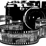 We choose the camera because the Comenius project is about photography The film strip shows the sights of Italy, Germany and France because these countries take part in the Comenius project.  The black and white design is simple and not deflective.
