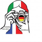 My Logo is a person with a camera.  The hair is the Italian flag. The lens is the German flag. Between the hands is the French flag.